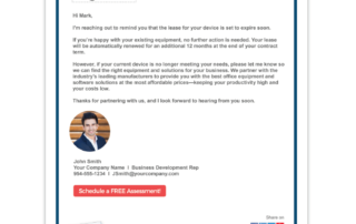 An example of an Evolved Office Rep Template email and corresponding email marketing topic categories, like Managed Print, Managed IT, and more.