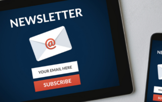 Close up of a tablet and smartphone newsletter subscription page