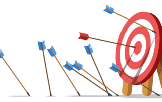 A rendering of a target with eight blue arrows missing the mark and only one red arrow hitting the target symbolizing marketing blunders.
