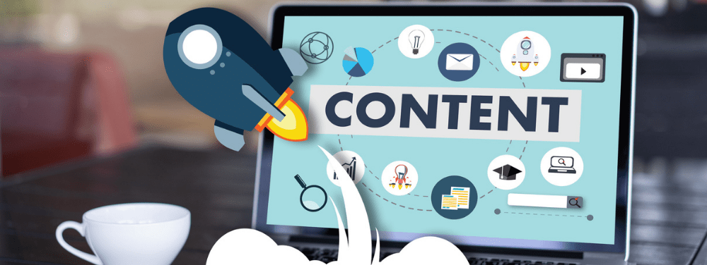 Close up of a computer with content on the screen with a rocket ship taking off to symbolize the importance of content marketing.