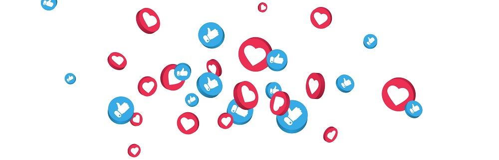 Facebook like and love symbols on a white background