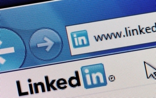 Internet browser on the LinkedIn home page