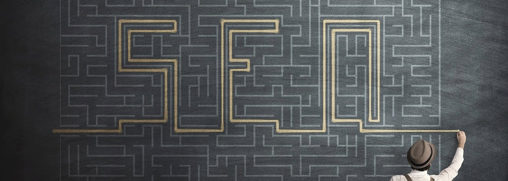 A maze spelling out SEO